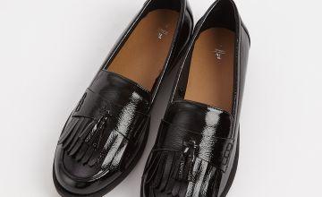 Black Faux Patent Tassel & Fringe Loafer