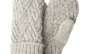 Grey Knitted Mittens - One Size