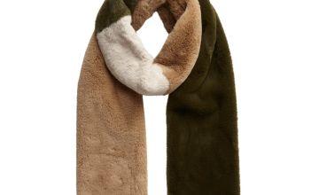 Faux Fur Colour Block Scarf - One Size