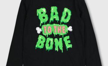 Halloween Black Slogan Top