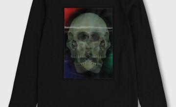 Black Lenticular Skull Graphic Top