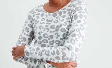 Leopard Print Soft Knit Pyjama Top