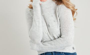 Grey Snowflake Pearl & Sequin Jumper
