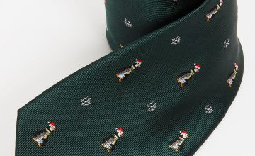 Christmas Novelty Green Penguin Tie - One Size