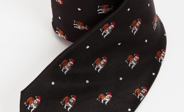 Christmas Novelty Black Festive Bulldog Tie - One Size