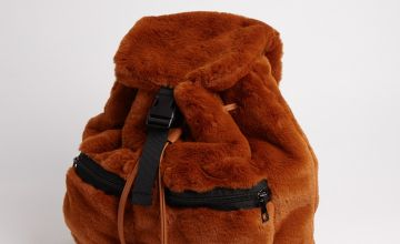 Brown Faux Fur Backpack - One Size