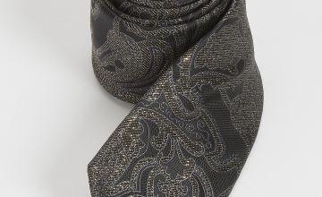 Black & Metallic Gold Paisley Print Slim Tie - One Size