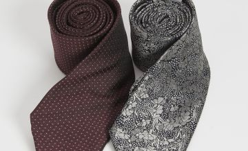 Burgundy Spot & Floral Tie 2 Pack - One Size