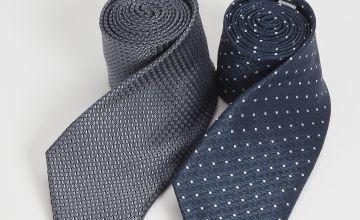 Navy Spot & Satin Textured Tie 2 Pack - One Size