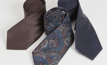 Navy Printed Tie 3 Pack - One Size