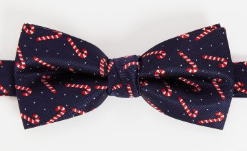Christmas Navy Novelty Candy Cane Bow Tie - One Size