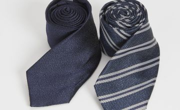 Plain Navy & Stripe Tie 2 Pack - One Size