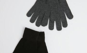 Black & Grey Gloves 2 Pack - One Size