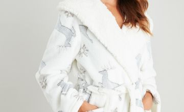 Stag Print Longline Dressing Gown