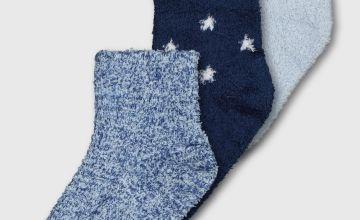Blue Cosy Socks 3 Pack