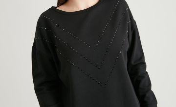 PETITE Black Chevron Sparkle Sweatshirt