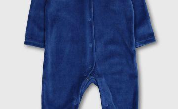 Blue Velour Transport Collar Sleepsuit