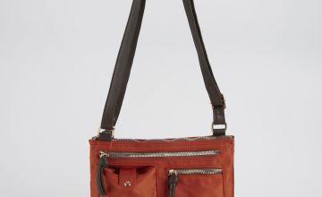 Rust Nylon Cross Body Bag - One Size