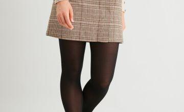 Brown & Pink Check A-Line Skirt