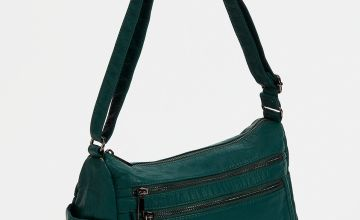 Green Washed Faux Leather Zipped Cross Body Bag - One Size