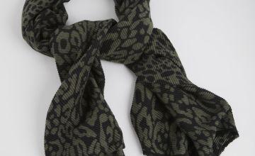 Khaki Leopard Print Ribbed Scarf - One Size