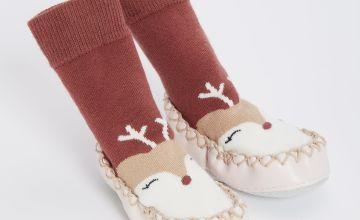 Reindeer Moccasin Slipper Sock