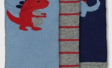 Blue Dinosaur Socks 3 Pack