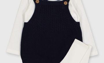 Navy Knitted Body, Cream Bodysuit & Socks