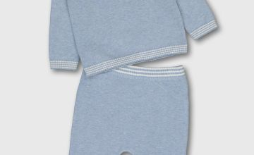 Blue Knitted Polo Shirt & Bottoms Set