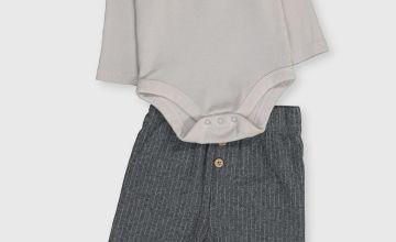 Grey Ribbed Bodysuit & Trouser Set