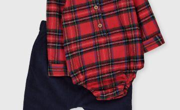 Red Tartan Bodysuit & Navy Trousers