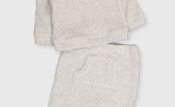 Grey Ribbed Velour Set