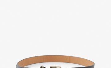 Black Mock Croc Belt With Studs