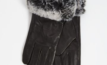Black Leather Gloves With Faux Fur Trim