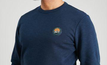 Navy Crew Neck Badge Sweatshirt