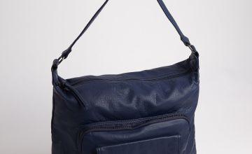 Navy Washed Shoulder Bag - One Size