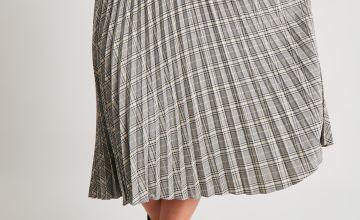 Check Pleated Midi Skirt