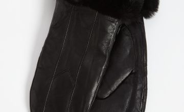Black Leather & Faux Fur Mittens