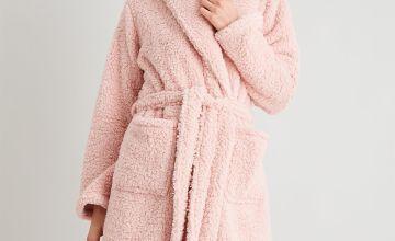 Pink Borg Fleece Dressing Gown