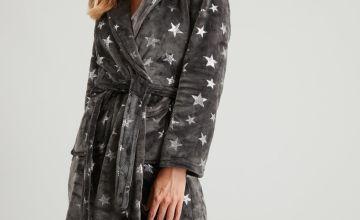 Grey Metallic Star Print Dressing Gown