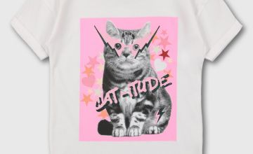 White Cat Print Slogan T-Shirt