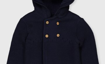 Navy Hooded Cardigan