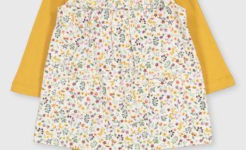 Floral Corduroy Pinafore, Bodysuit & Tights