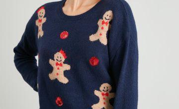 Christmas Navy Gingerbread Jumper