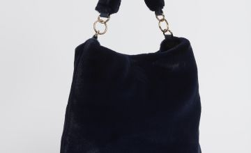 Navy Faux Fur Handbag - One Size