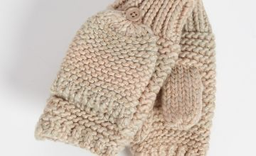Pastel Knitted Flip Over Mittens - One Size