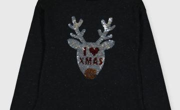 Christmas Black Sequin Reindeer Top