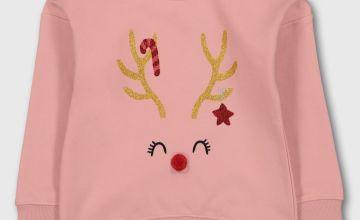 Christmas Pink Reindeer Sweatshirt