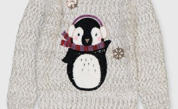 Christmas Grey Penguin Light & Sound Jumper