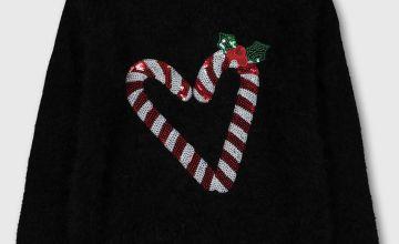 Christmas Black Fluffy Sequin Heart Jumper